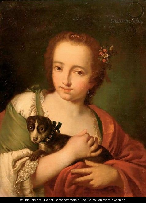A young woman in a green dress and a red wrap, with a dog in her arms - (after) Giovanni Battista Piazzetta