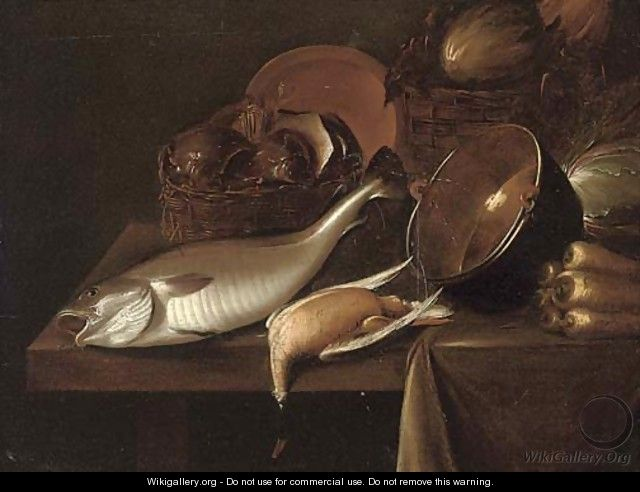 A fish, a dead game bird - (after) Gerrit Van Vucht