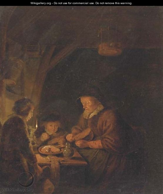 An old woman and two children eating by candlelight in an interior - (after) Gerrit Dou