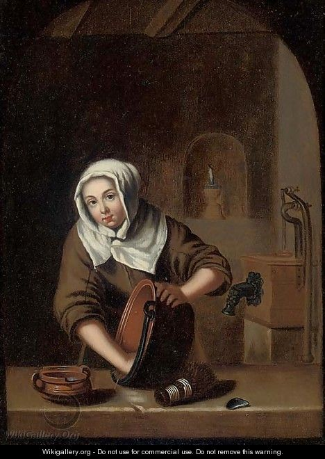 A woman cleaning pots at a casement - (after) Gerrit Dou