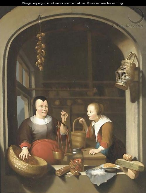 A shop-keeper and a maid seen through a casement - (after) Gerrit Dou