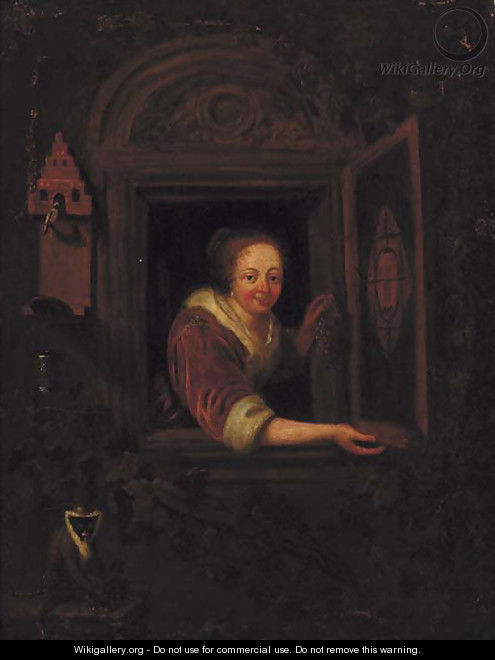 A lady with a monkey and a bullfinch at a casement - (after) Gerrit Dou