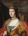 Portrait of Elizabeth, Queen of Bohemia, half-length, in a gold- embroidered dress with ermine lining, a red cape and holding a sceptre - (after) Honthorst, Gerrit van
