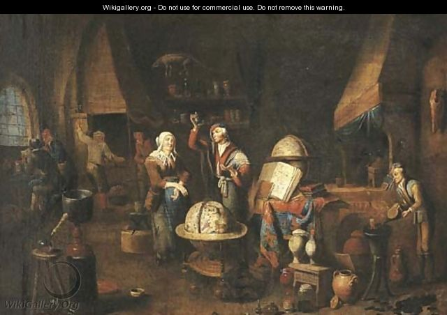 A piskijker A woman visiting the doctor in his studio, his assistants at work nearby - (after) Gerard Thomas