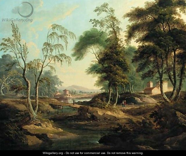 An Italianate river landscape with figures at a bridge - (after) Giuseppe Zais