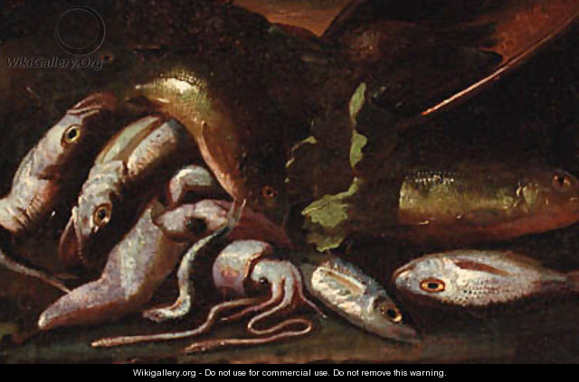 Fish and a crayfish on a coastline - (after) Giuseppe Recco