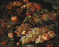 Grapes, apples and pomegranates in a glass bowl with other fruit on a rocky bank - (after) Giovanni Paolo Spadino