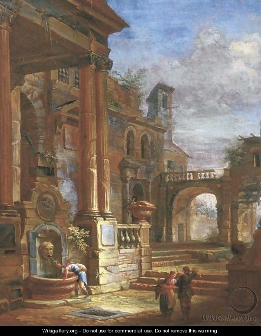 An architectural capriccio with figures by a fountain in a square - (after) Giovanni Paolo Panini