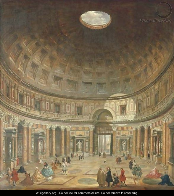 The interior of the Pantheon, Rome, looking north from the main altar towards the entrance - (after) Giovanni Paolo Panini