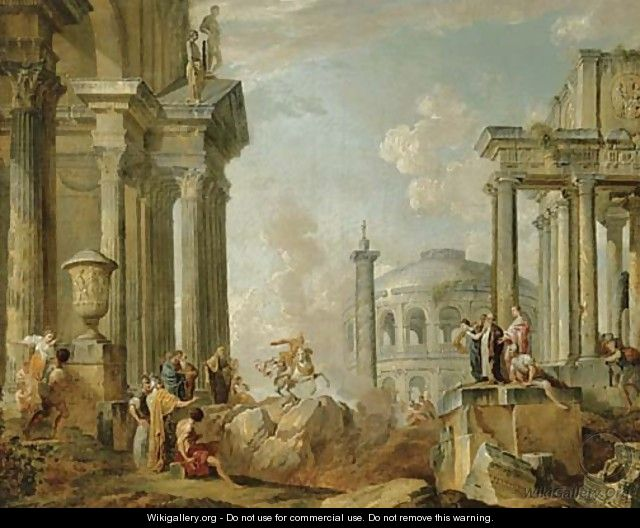 Marcus Curtius riding into the chasm of fire - (after) Giovanni Paolo Panini