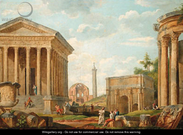 A capriccio of the Maison Care at Nmes - (after) Giovanni Paolo Panini