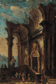 A capriccio of figures at a classical ruin - (after) Giovanni Paolo Panini