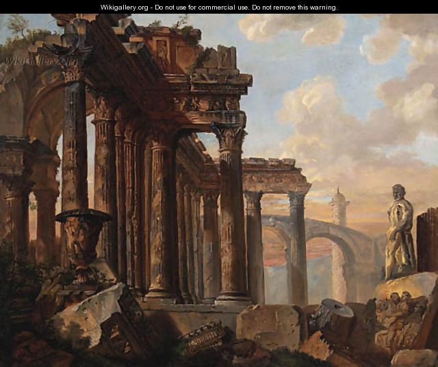 A capriccio of classical ruins with the Farnese Hercules - (after) Giovanni Paolo Panini