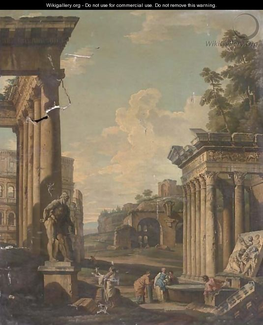A capriccio of classical architecture with figures by a fountain - (after) Giovanni Paolo Panini