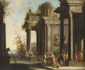 A capriccio of architectural ruins with classical figures - (after) Giovanni Ghisolfi