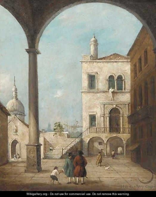 A Venetian courtyard with figures under a colonnade - (after) Francesco Guardi