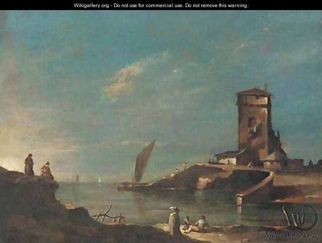 A capriccio with a tower, figures in the foreground - (after) Francesco Guardi