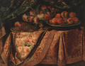 A vase of flowers with a salvers of grapes and oranges on a draped table - (after) Francesco (Il Maltese) Fieravino