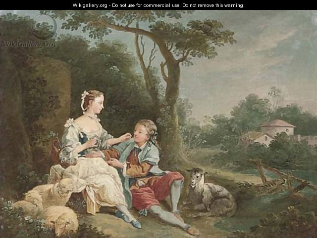 A wooded river landscape with a swain courting a shepherdess - (after) Francois Boucher