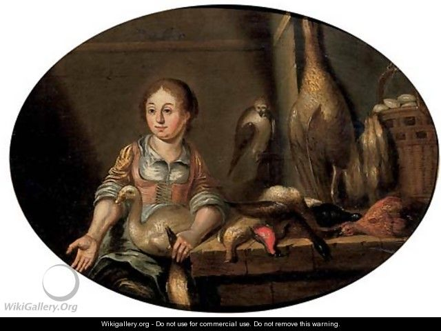 A maid in a kitchen, seated by a table laden with dead game - (after) Floris Gerritsz. Van Schooten