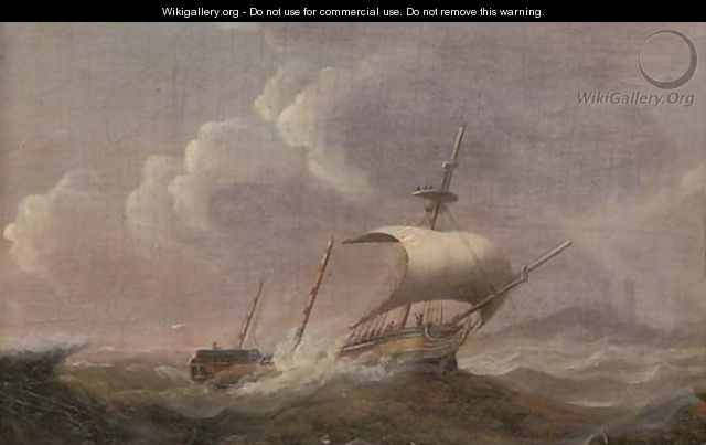A dismasted merchantman under jury rig off the coast - (after) Francis Sartorius