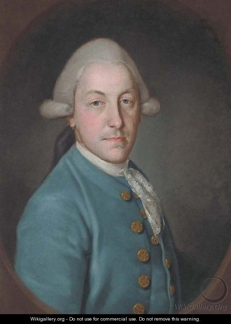 Portrait of a gentleman, bust-length, in a blue coat and lace cravat - (after) Francis Cotes