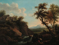 Figures in a rocky river landscape with a town beyond - (after) Francesco Zuccarelli