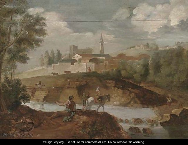 A wooded river landscape with an angler on a river bank, and travellers crossing the river, a town beyond - (after) Francesco Zuccarelli