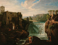 A river landscape with figures before a waterfall - (after) Francesco Zuccarelli