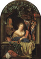 A woman at a feigned stone window holding a salmon-steak - (after) Frans Van Mieris