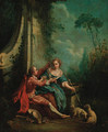 A shepherd and shepherdess at a fountain - (after) Francois Boucher