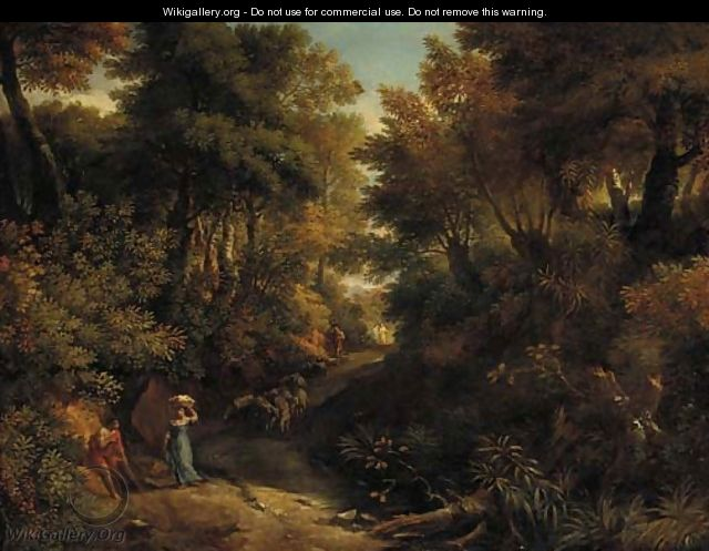 A wooded landscape with a shepherd and a washerwoman on a path - (after) Jean-Francois Millet