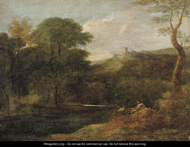 A river landscape with figures by a stream, a hilltop fort beyond - (after) Gaspard Dughet