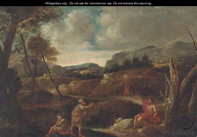 Christ and Saint John the Baptist in a landscape with other figures - (after) Gaspard Dughet