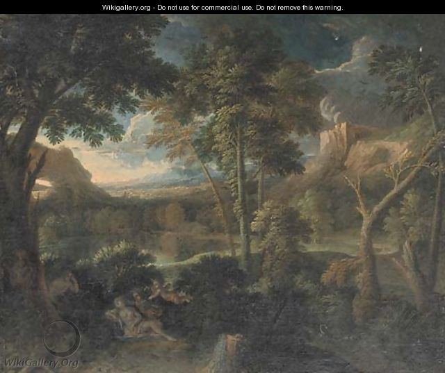 A landscape with Venus and Adonis - (after) Gaspard Dughet