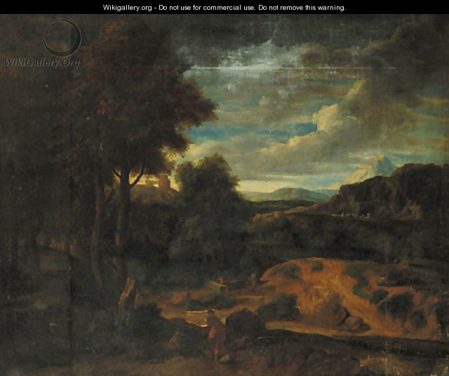 An Italianate landscape at sunset with shepherds in the foreground - (after) Gaspard Dughet