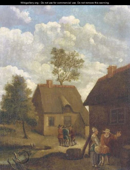 A farmyard with figures conversing - (after) David The Younger Teniers