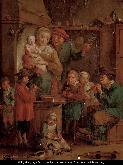 A family in a kitchen interior with two musicians - (after) David The Younger Teniers