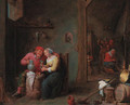 A courting couple in an inn - (after) David The Younger Teniers