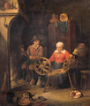 A peasant couple at a spinning wheel by a fire in a barn - (after) David Ryckaert III