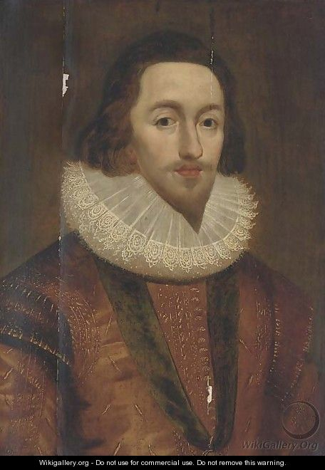 Portrait of George Villiers, 1st Duke of Buckingham, in a gold doublet and lace ruff, wearing the Order-of-the-Garter - (after) Johnson, Cornelius I