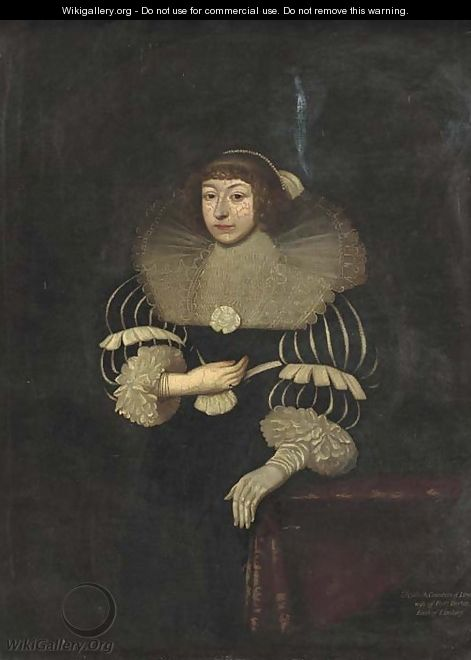 Portrait of Elizabeth, Countess of Lyndsey, three-quarter-length in a black and white dress and a lace ruff, a glove on her left hand - (after) Johnson, Cornelius I
