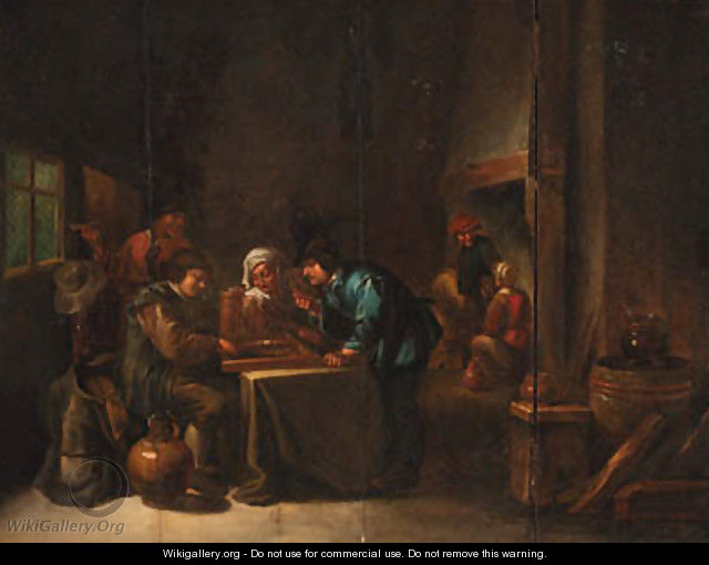 Peasants playing backgammon in an interior 2 - (after) David The Younger Teniers
