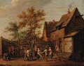 Peasants making merry in the courtyard of an inn - (after) David The Younger Teniers