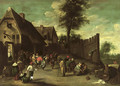 Peasants feasting and dancing outside an inn - (after) David The Younger Teniers