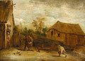 Figures playing skittles before a cottage - (after) David The Younger Teniers