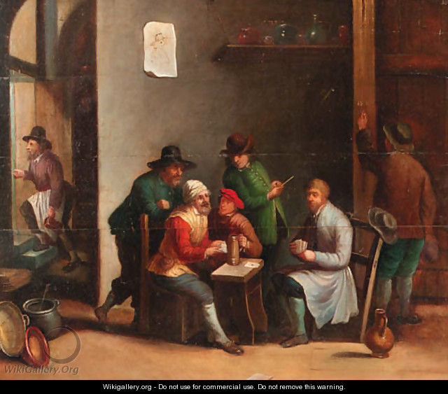 Boors playing at cards in an inn - (after) David The Younger Teniers