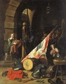 Armour, a saddle, a drum, a banner, a plumed helmet on a bench and other objects in a guardroom - (after) David The Younger Teniers