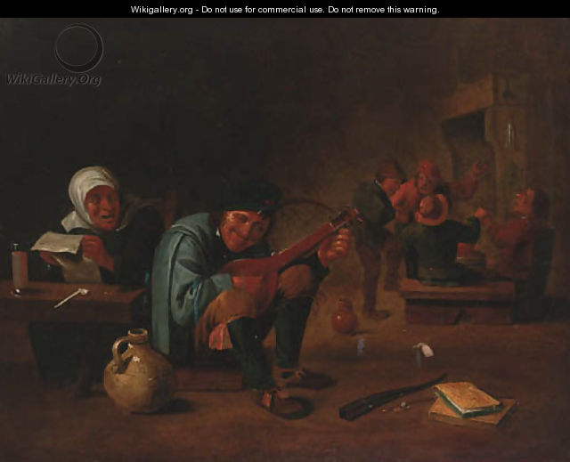 A peasant playing a lute in a tavern interior - (after) David The Younger Teniers