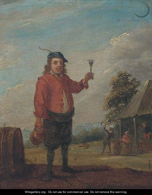 A peasant holding a jug and a roemer of wine near an inn - (after) David The Younger Teniers